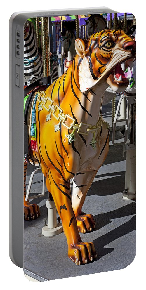 Tiger Portable Battery Charger featuring the photograph Tiger Carousel Ride by Garry Gay