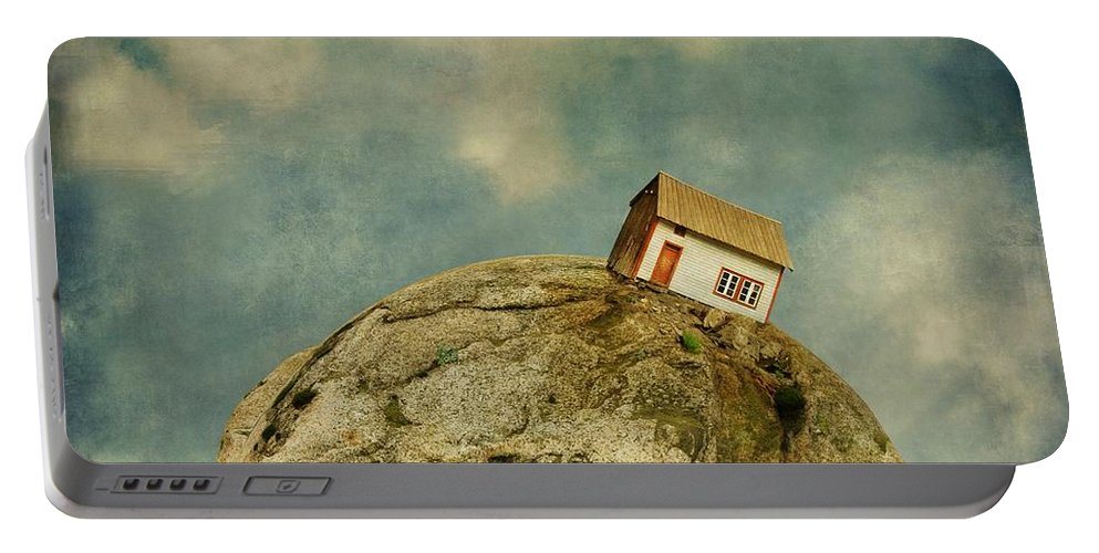 Surrealism Portable Battery Charger featuring the photograph Tilted House by Sonya Kanelstrand