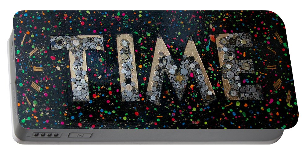 Time Portable Battery Charger featuring the mixed media Time by Gary Hogben