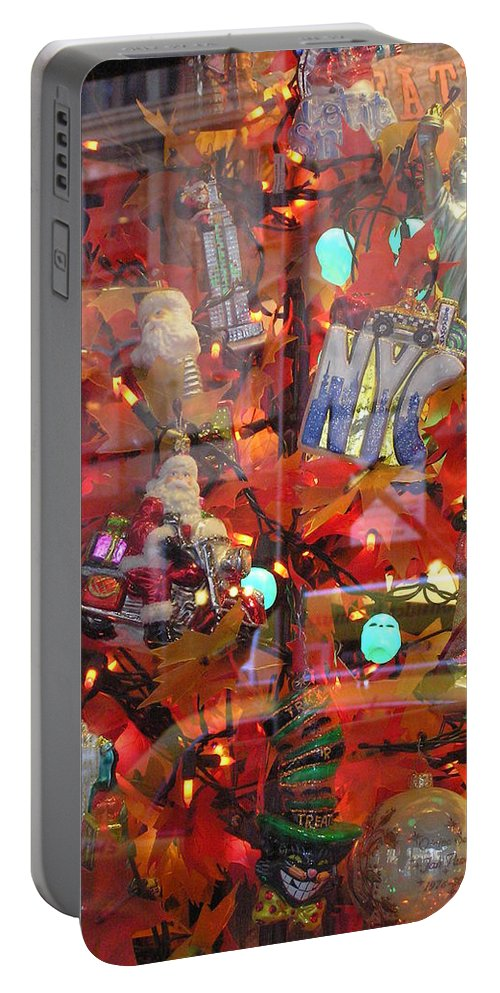 Reflections Portable Battery Charger featuring the photograph Times Square Reflections by Stefa Charczenko