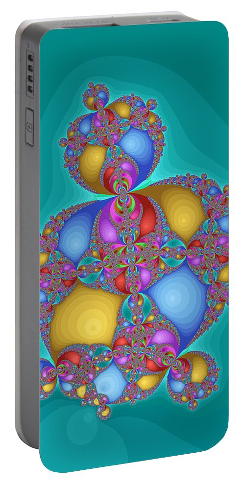 Fractal Portable Battery Charger featuring the digital art Tipsy J Buoyant by Mark Greenberg