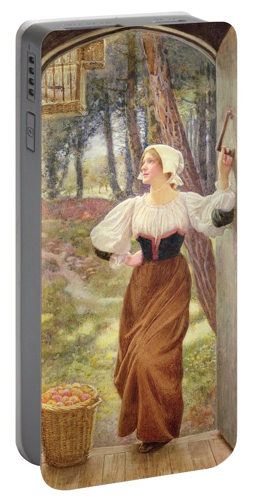 Tithe In Kind Portable Battery Charger featuring the painting Tithe In Kind by Edward Robert Hughes