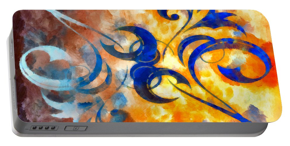 Harness Portable Battery Charger featuring the mixed media To Harness The Sun by Angelina Vick