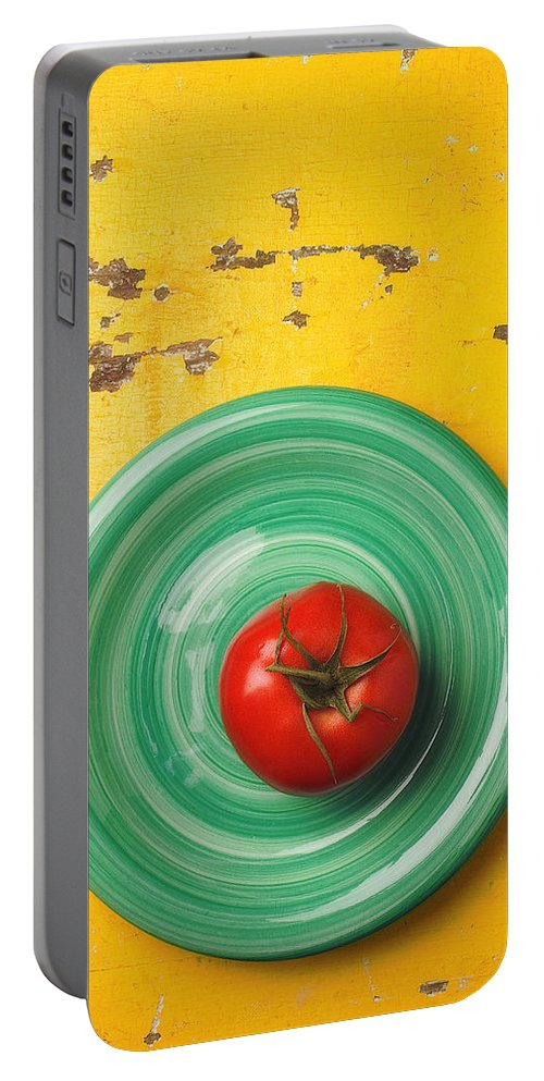 Tomato Portable Battery Charger featuring the photograph Tomato On Green Plate by Garry Gay