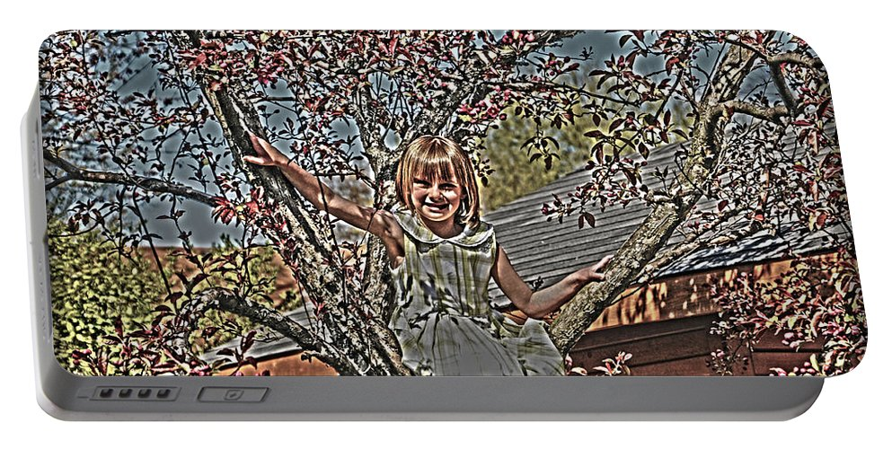 Little Girl In Tree.spring Blossoms Portable Battery Charger featuring the photograph Tomboy In The Tree by Randall Branham