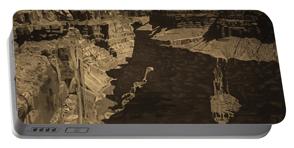 Sepia Portable Battery Charger featuring the photograph Toroweap Point - Sepia by Rich Walter