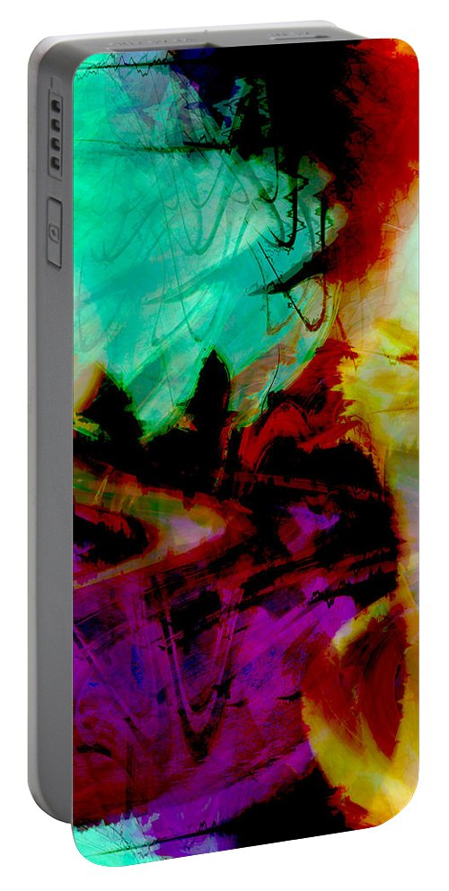 Abstract Portable Battery Charger featuring the digital art Touch Of The Sun by Linda Sannuti