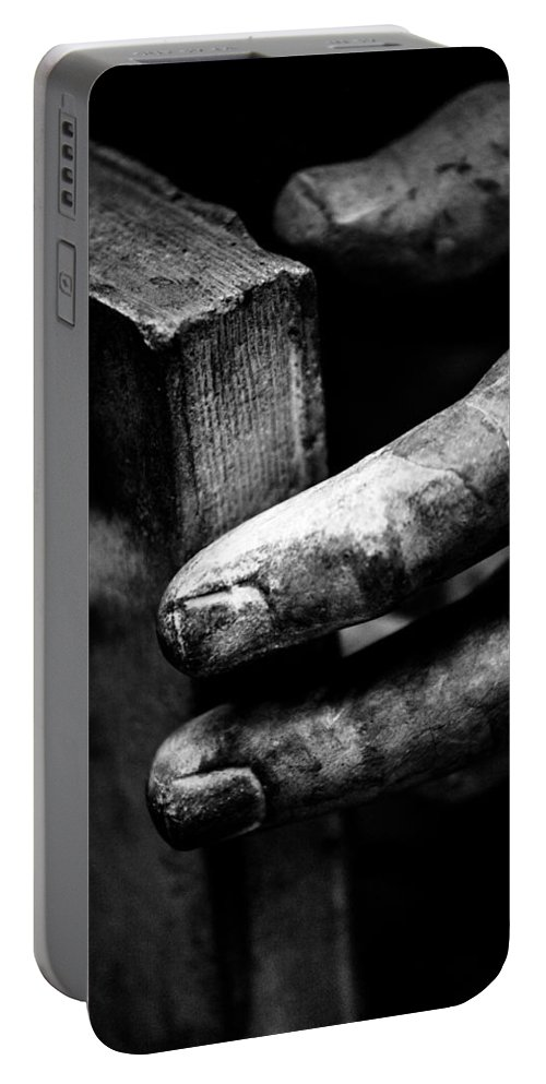 Statue Portable Battery Charger featuring the photograph Touching The Book by Hakon Soreide