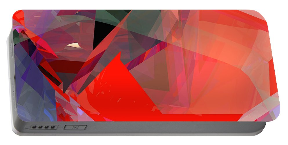 Abstract Portable Battery Charger featuring the digital art Tower Poly 22 by Russell Kightley