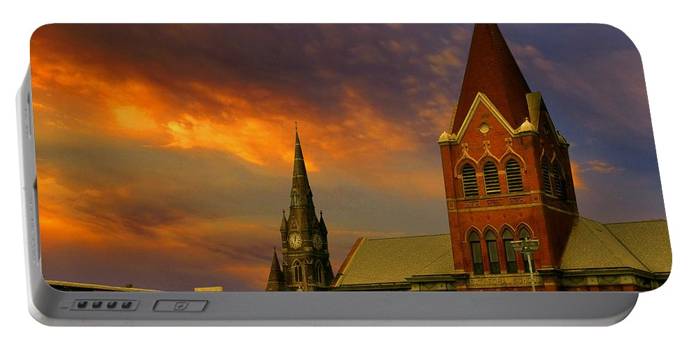 Church Portable Battery Charger featuring the photograph Towers Of Faith by Brian Fisher
