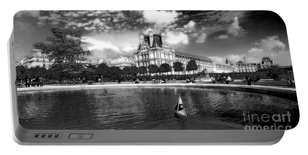 Toy Portable Battery Charger featuring the photograph Toy Boating In A Parisian Park Bw by Mike Nellums