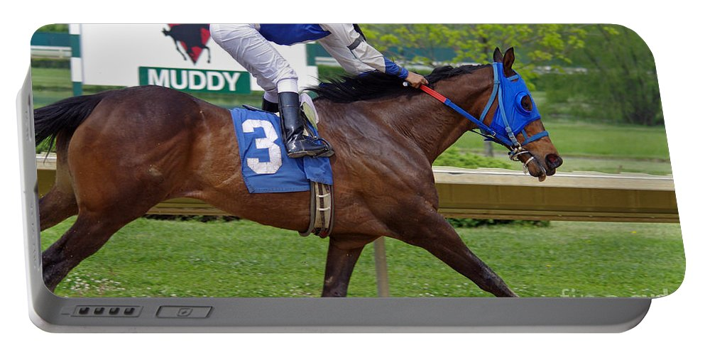 Thoroughbred Portable Battery Charger featuring the photograph Track Listed Muddy by J M Lister