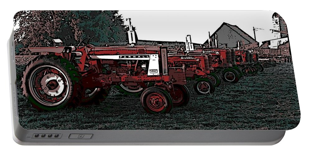 Tractor Portable Battery Charger featuring the photograph Tractor Row by George Pedro