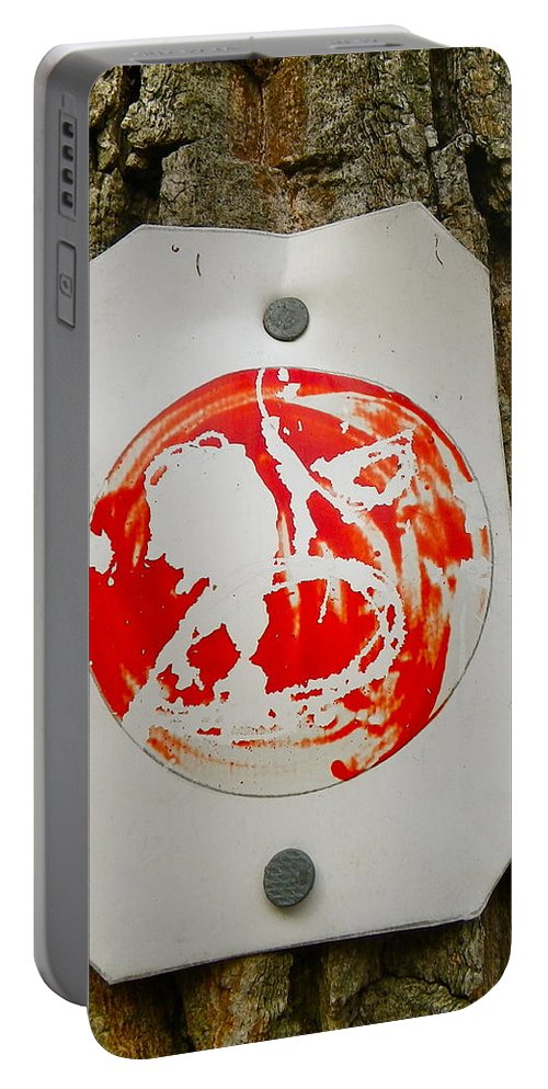 Tree Portable Battery Charger featuring the painting Trail Art - Fish Bowl by Anna Ruzsan