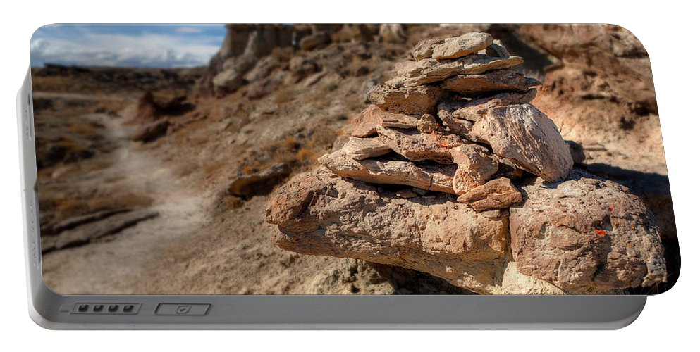 Wyoming Portable Battery Charger featuring the photograph Trail Cairn At Gooseberry Badlands Wyoming by Steve Gadomski