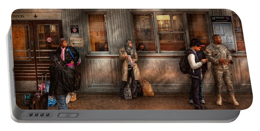 Train Portable Battery Charger featuring the photograph Train - Station - Waiting For The Next Train by Mike Savad