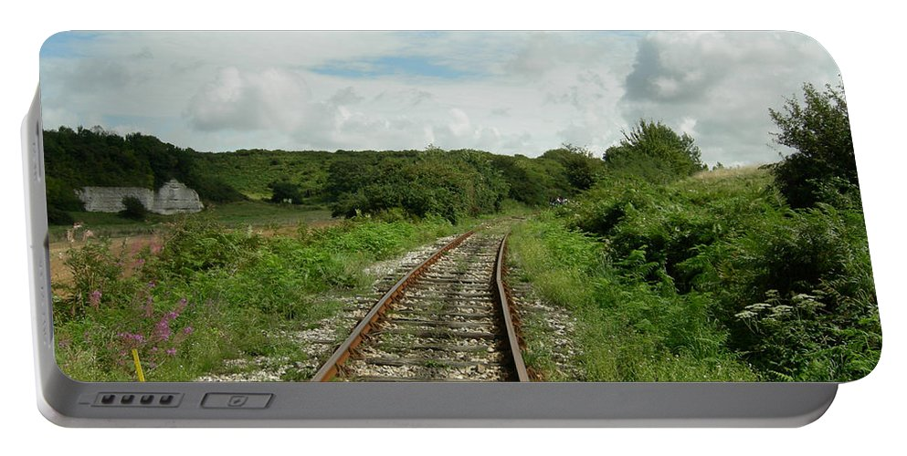 Railway Portable Battery Charger featuring the photograph Traveling Towards One's Dream by Donato Iannuzzi