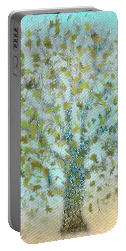 Tree Portable Battery Charger featuring the painting Tree In Autumn by Gina Lee Manley