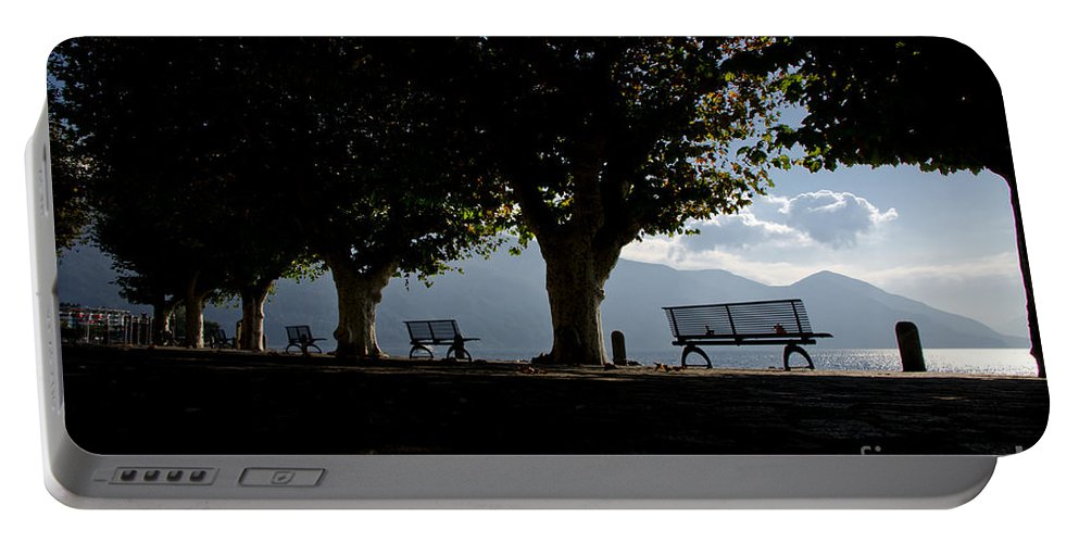 Trees Portable Battery Charger featuring the photograph Trees And Benches by Mats Silvan