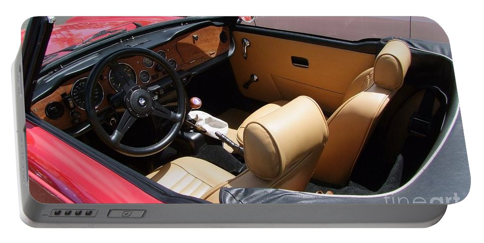 Triumph Tr6 Portable Battery Charger featuring the photograph Triumph Tr6 Seats by Mary Deal