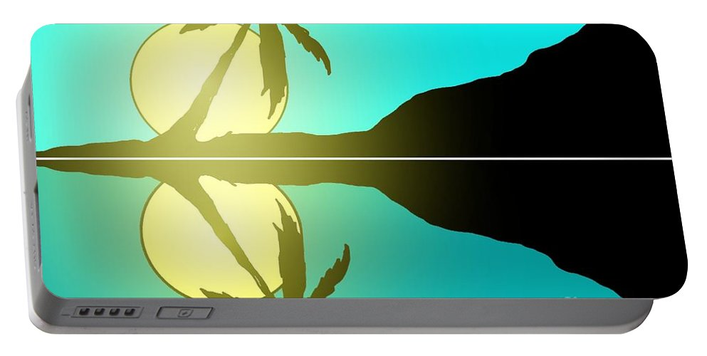 Tropical Portable Battery Charger featuring the painting Tropical Sunrise Number 5 by George Pedro