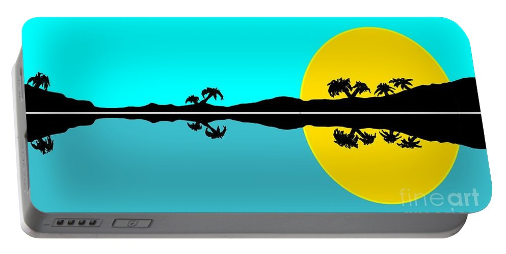 Tropical Portable Battery Charger featuring the painting Tropical Sunset by George Pedro