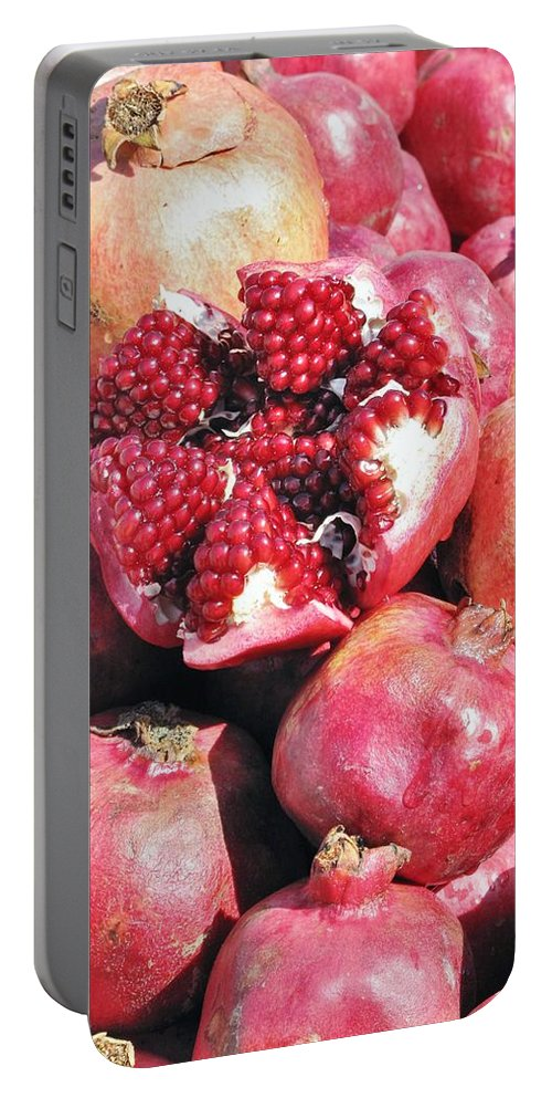 Pomegrant Portable Battery Charger featuring the photograph Turkish Pomegrants by Ian MacDonald