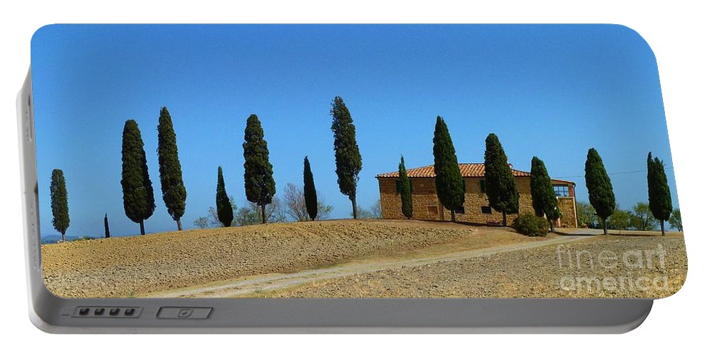 Watercolor Portable Battery Charger featuring the photograph Tuscan House I Cipressini/italy/europe by Christine Huwer