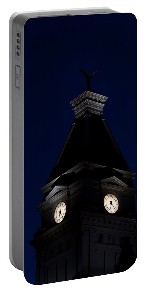 Architecture Portable Battery Charger featuring the photograph Twilight View Of Clock At Clarksville Historic Courthouse by Ed Gleichman