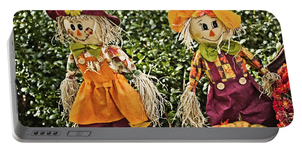 Scarecrows Portable Battery Charger featuring the photograph Twins by Tom Gari Gallery-Three-Photography