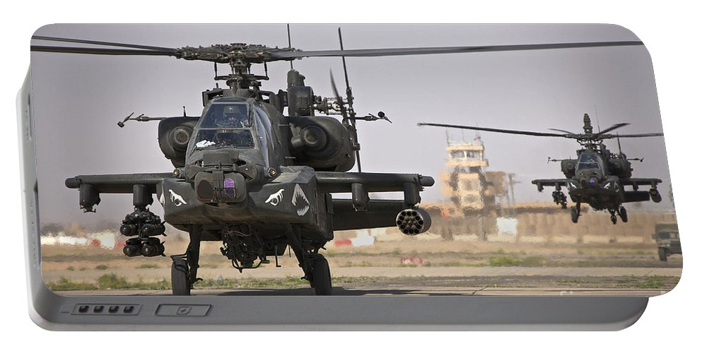 Ah-64 Portable Battery Charger featuring the photograph Two Ah-64 Apache Helicopters Return by Terry Moore