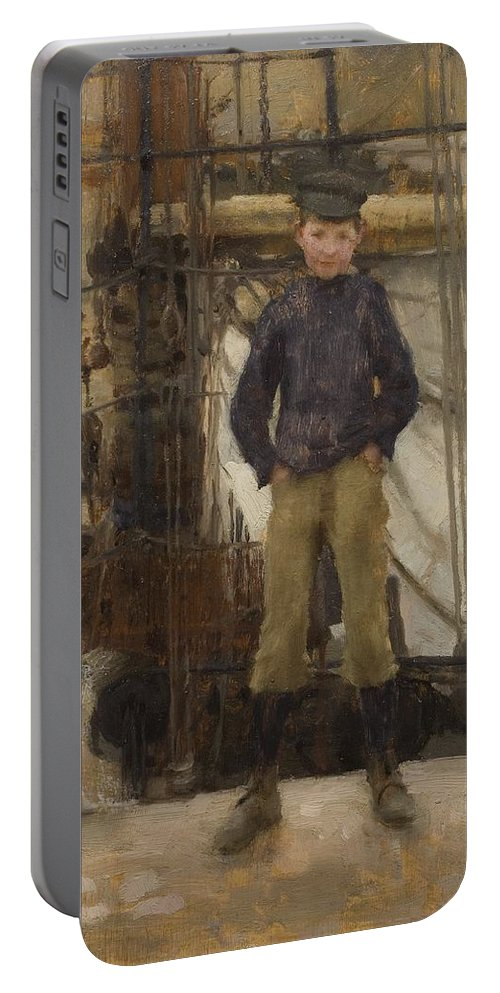 Boy; Boys; Cornish; Innocent; Angelic; Child; Cap; Rigging; Newlyn School Portable Battery Charger featuring the painting Two Children On Deck by Henry Scott Tuke