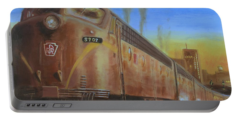 Train Portable Battery Charger featuring the painting Two Minutes Late by Christopher Jenkins