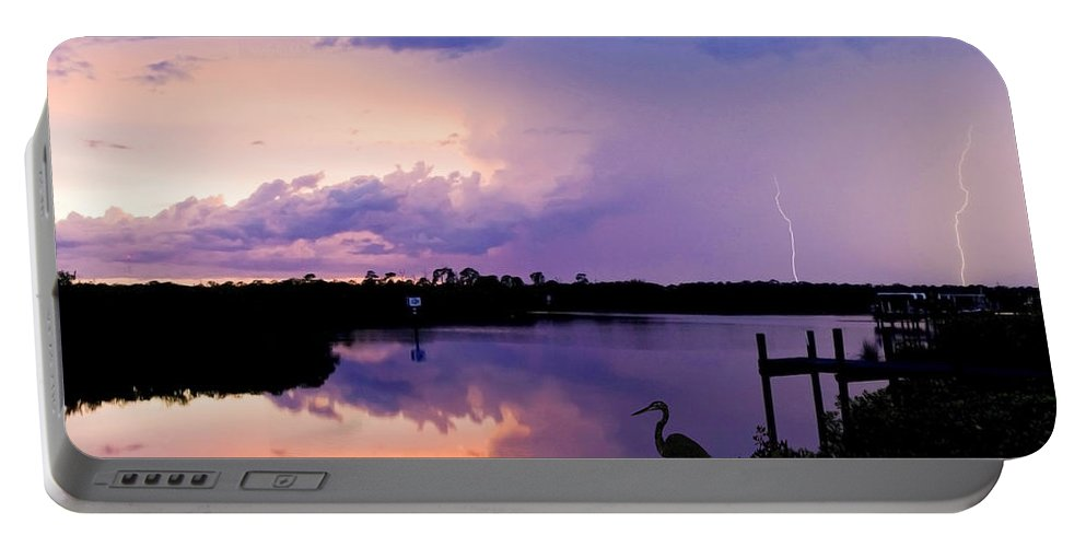 Landscape Portable Battery Charger featuring the photograph Two Strikes by Mal Bray