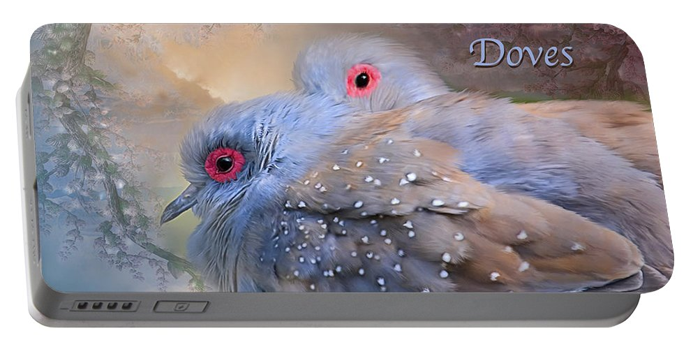 Turtle Doves Portable Battery Charger featuring the mixed media Two Turtle Doves Card by Carol Cavalaris