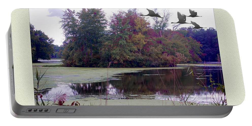 2d Portable Battery Charger featuring the photograph Unicorn Lake - Geese by Brian Wallace