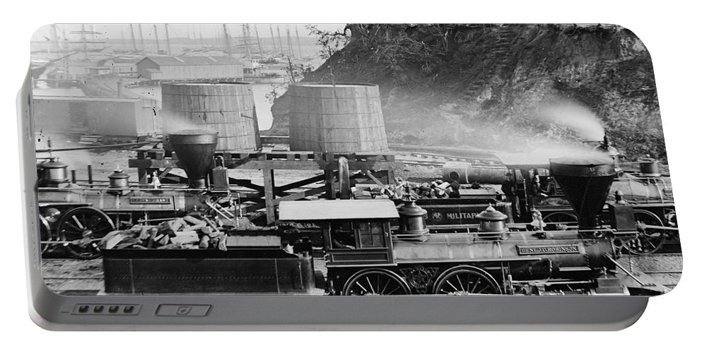 1864 Portable Battery Charger featuring the photograph Union Locomotive, C1864 by Granger
