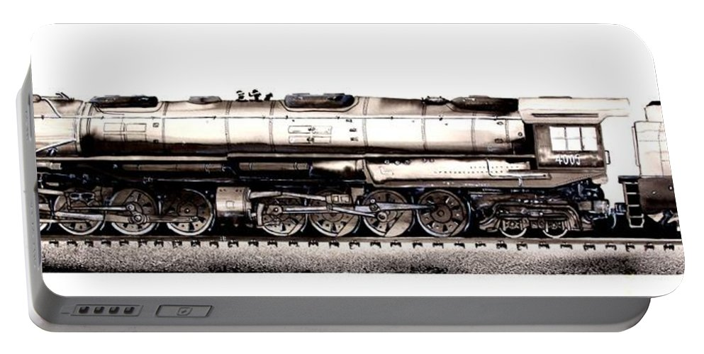 Railroad Portable Battery Charger featuring the painting Union Pacific 4-8-8-4 Steam Engine Big Boy 4005 by J Vincent Scarpace