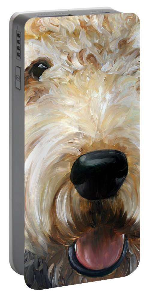 Art Portable Battery Charger featuring the painting Up Close by Mary Sparrow