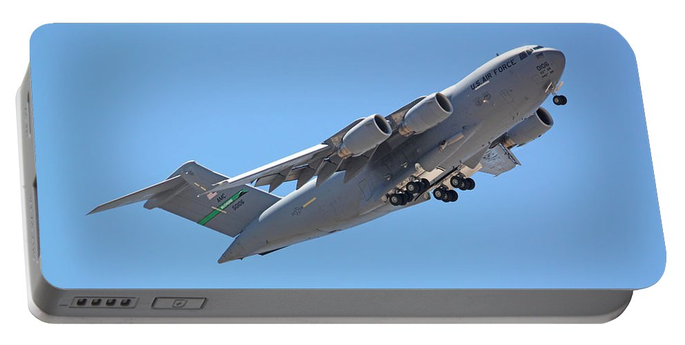 Las Vegas Portable Battery Charger featuring the photograph Usaf C-17 Lift Off by Carl Deaville