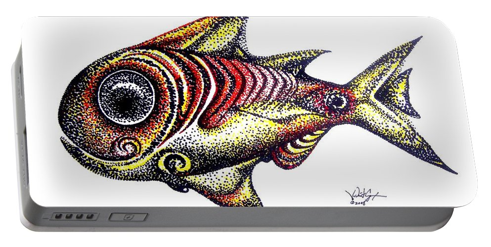 Fish Portable Battery Charger featuring the painting Variegated Red Fish In Stipple by J Vincent Scarpace
