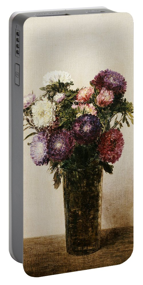 Still-life Portable Battery Charger featuring the painting Vase Of Flowers by gnace Henri Jean Fantin-Latour