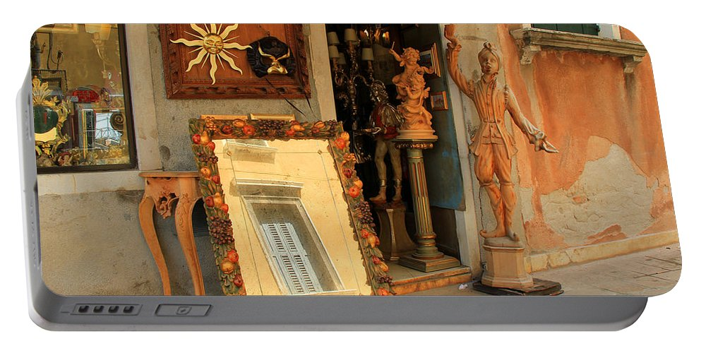 Venice Portable Battery Charger featuring the photograph Venice Antique Shop by Andrew Fare