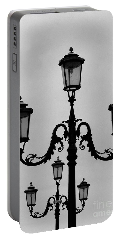 Venice Portable Battery Charger featuring the photograph Venitian Lamp Posts Bw by Mike Nellums