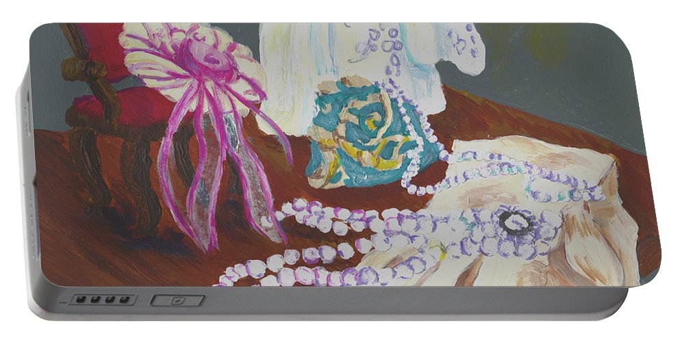 Gail Daley Portable Battery Charger featuring the painting Victorian Lace by Gail Daley
