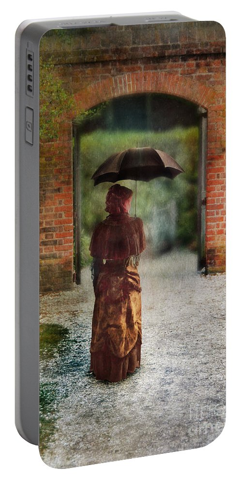 Lady Portable Battery Charger featuring the photograph Victorian Lady By Brick Archway by Jill Battaglia
