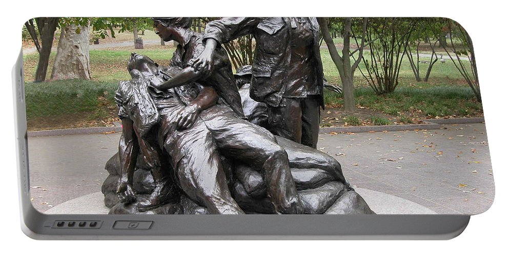 Monuments Portable Battery Charger featuring the photograph Vietnam Women's Memorial by Guy Whiteley