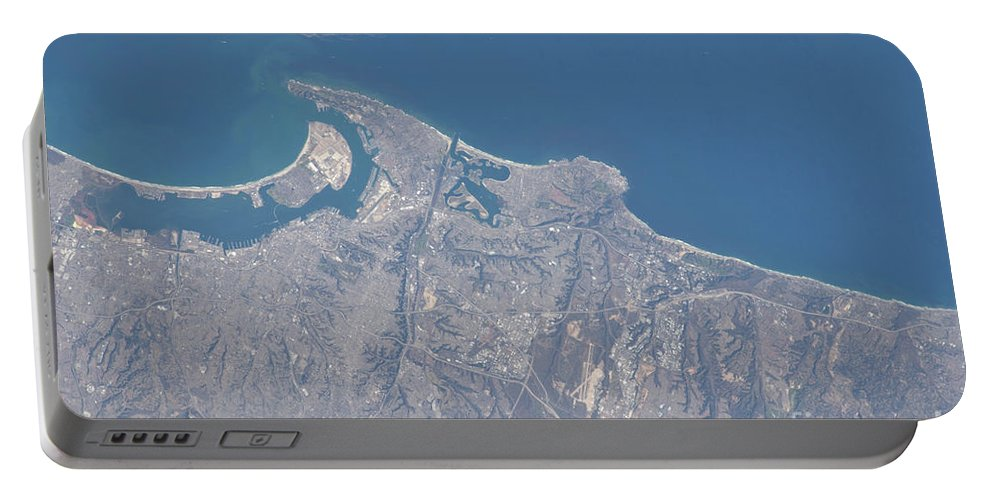 Color Image Portable Battery Charger featuring the photograph View From Space Of San Diego by Stocktrek Images