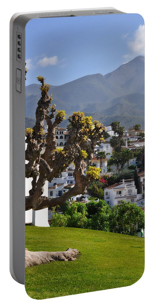 View From The Parador Nerja Portable Battery Charger featuring the photograph View From The Parador Nerja by Mary Machare