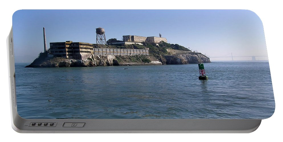 San Francisco Portable Battery Charger featuring the photograph View Of Alcatraz From A Boat That Is Leaving The Island by Ashish Agarwal